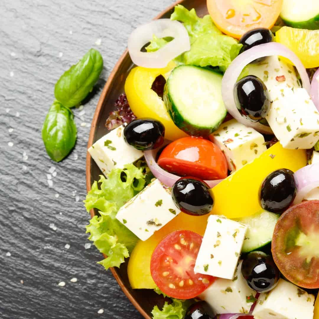 top view at mediterranean diet dish greek salad on YT4EH8P